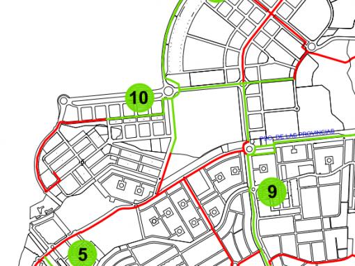 Creación de carriles bici en el área de actuación y ampliación y mejora de los que hay