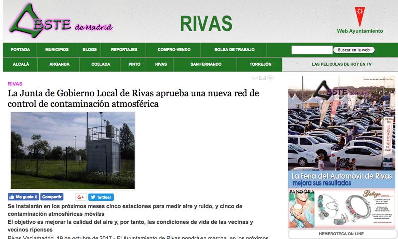 Estedemadrid.com: La Junta de Gobierno Local de Rivas aprueba una nueva red de control de contaminación atmosférica