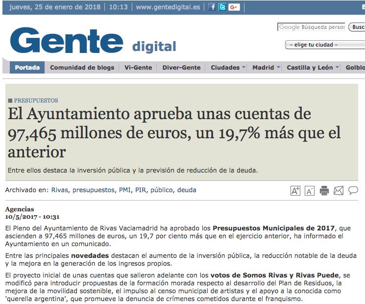 Gentedigital.es: El Ayuntamiento aprueba unas cuentas de 97,465 millones de euros, un 19,7% más que el anterior