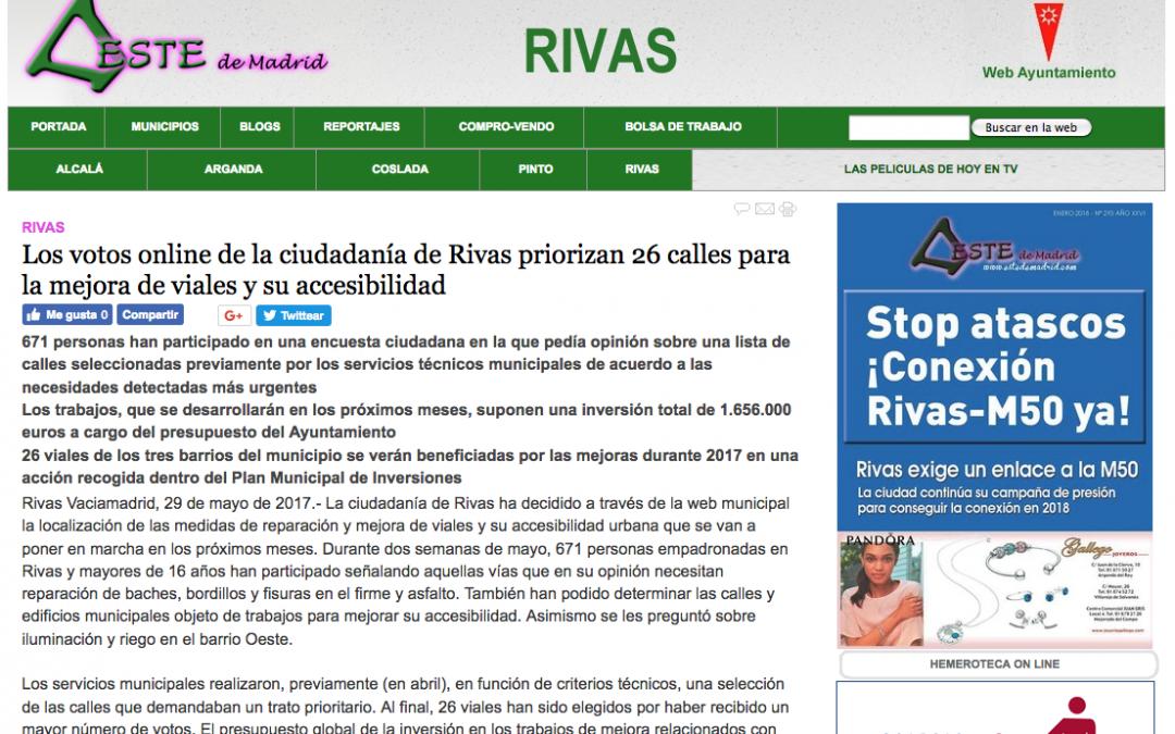 EstedeMadrid.com: Los votos online de la ciudadanía de Rivas priorizan 26 calles para la mejora de viales y su accesibilidad