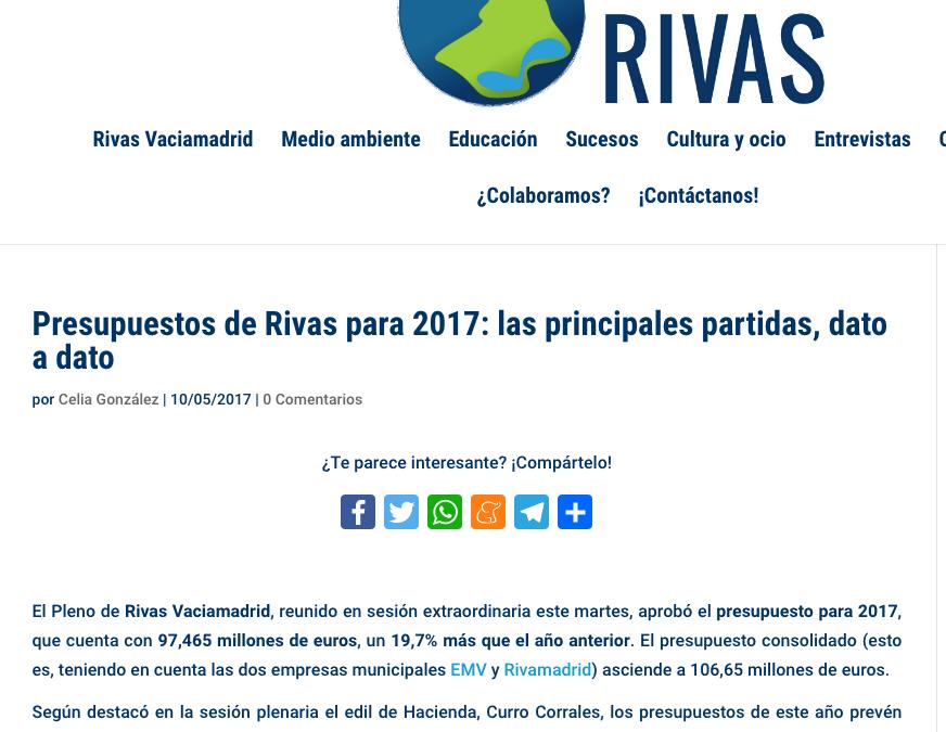 Diario de Rivas: Presupuestos de Rivas para 2017. Las principales partidas, dato a dato