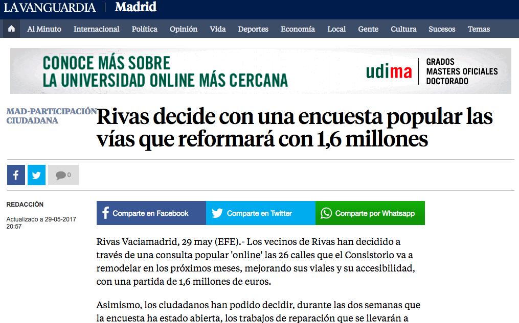 La Vanguardia: Rivas decide con una encuesta popular las vías que reformará con 1,6 millones