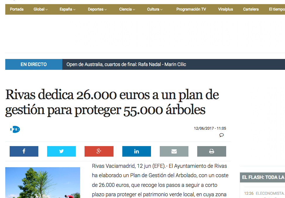 EcoDiario.es: Rivas dedica 26.000 euros a un plan de gestión para proteger 55.000 árboles