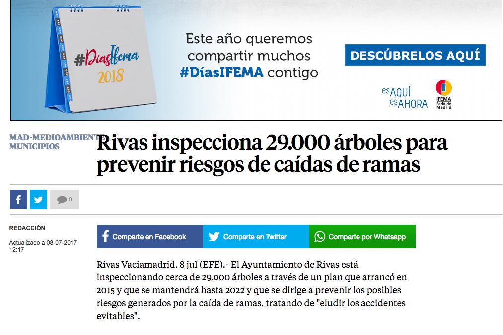 La Vanguardia: Rivas inspecciona 29.000 árboles para prevenir riesgos de caídas de ramas