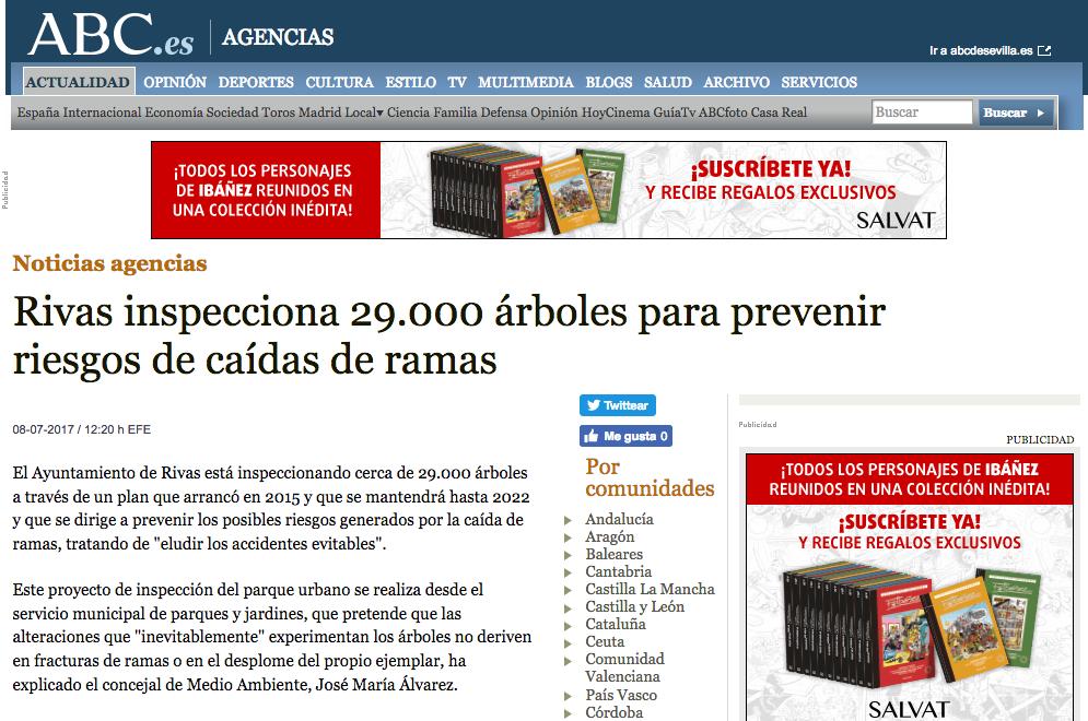 ABC: Rivas inspecciona 29.000 árboles para prevenir riesgos de caídas de ramas