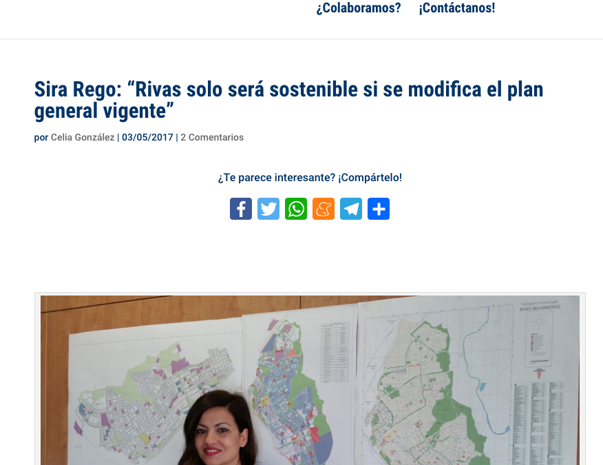 """Diario de Rivas: Sira Rego: """"Rivas solo será sostenible si se modifica el plan general vigente"""""""
